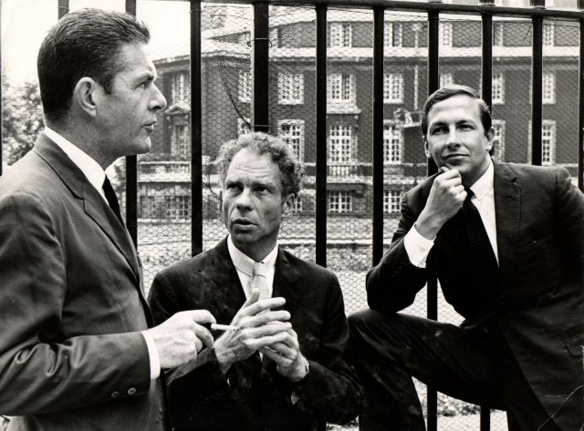 John Cage, Merce Cunningham and Robert Rauschenberg in 1964. Sadler Wells, 1964. Image courtesy of the Merce Cunningham Trust / photo Douglas Jeffrey / © Victoria and Albert Museum, London.
