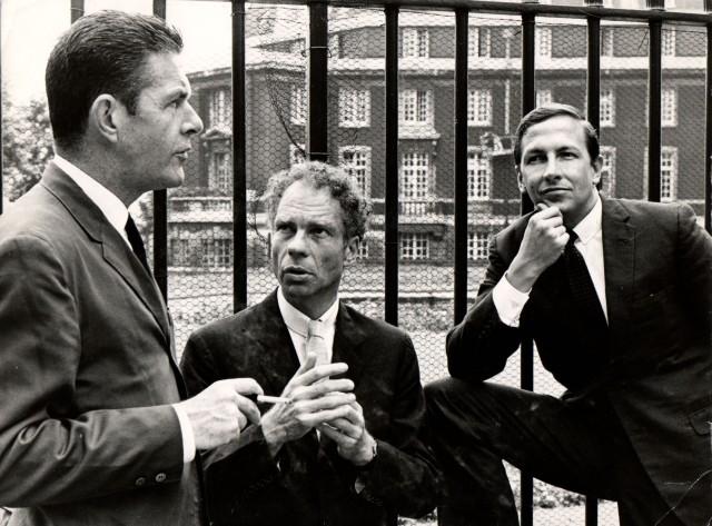 John Cage, Merce Cunningham and Robert Rauschenberg in 1964. Sadler Wells, 1964. Image courtesy of the Merce Cunningham Trust / photo Douglas Jeffrey / © Victoria and Albert Museum, London.